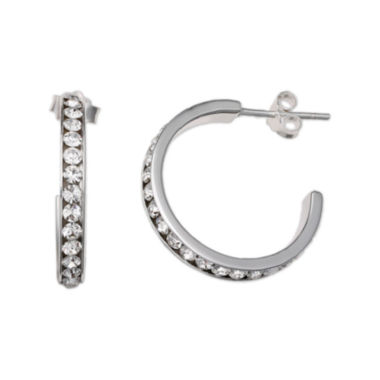 jcpenney.com | Clear Crystal Sterling Silver C Hoop Earrings