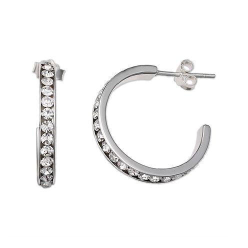 Clear Crystal Sterling Silver C Hoop Earrings