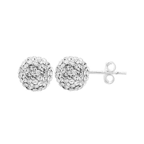 Rhinestone and Sterling Silver Round Ball Stud Earrings