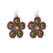 Aris by Treska Silver-Tone Multicolor Flower Earrings