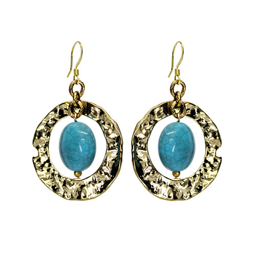 Aris by Treska Blue and Gold-Tone Ring Earrings