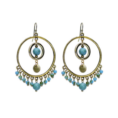 jcpenney.com | Aris by Treska Blue and Gold-Tone Beaded Hoop Earrings