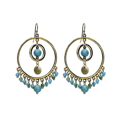Aris by Treska Blue and Gold-Tone Beaded Hoop Earrings