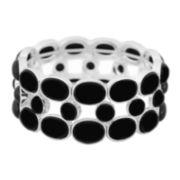 Liz Claiborne® Silver-Tone Black Stone Stretch Bracelet