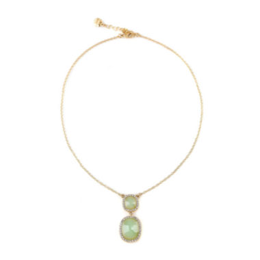 jcpenney.com | Monet® Gold-Tone Crystal & Green Stone Pendant Necklace