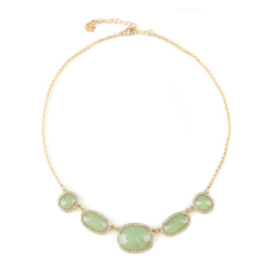 jcpenney.com | Monet® Gold-Tone Crystal & Green Stone Collar Necklace