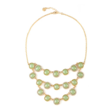 jcpenney.com | Monet® Gold-Tone Crystal & Green Stone Multi-Row Bib Necklace