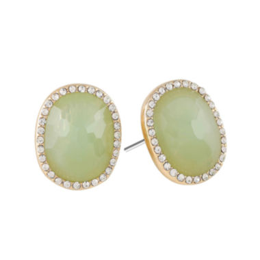 jcpenney.com | Monet® Gold-Tone Crystal & Green Stone Stud Earrings