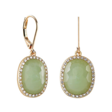 jcpenney.com | Monet® Gold-Tone Crystal & Green Stone Drop Earrings