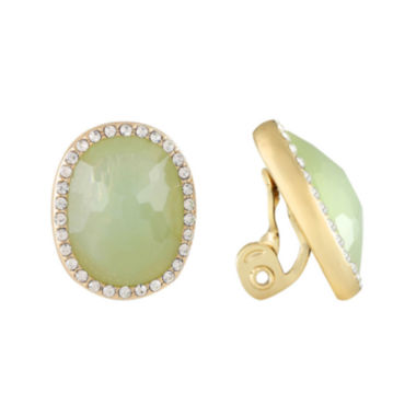 jcpenney.com | Monet® Gold-Tone Crystal & Green Stone Clip-On Earrings
