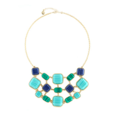 jcpenney.com | Monet® Gold-Tone Blue & Green Stone Bib Necklace