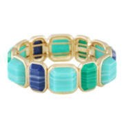 Monet® Gold-Tone Blue & Green Stone Stretch Bracelet