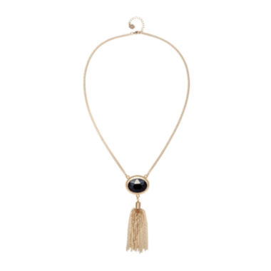 jcpenney.com | Monet® Gold-Tone Black Stone Tassel Pendant Necklace