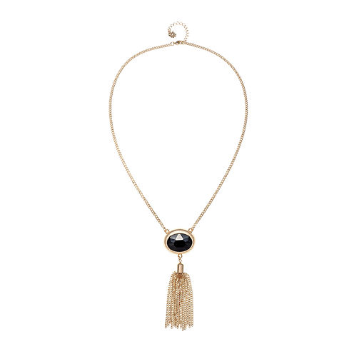 Monet® Gold-Tone Black Stone Tassel Pendant Necklace