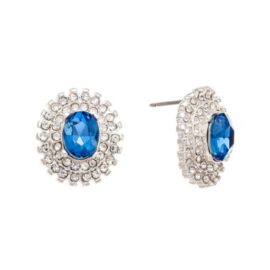 jcpenney.com | Monet® Blue Crystal and Silver-Tone Stud Earrings