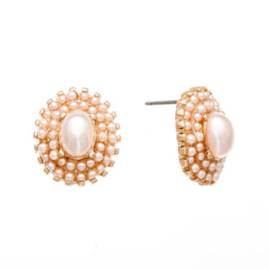 jcpenney.com | Monet® Simulated Pearl and Gold-Tone Earrings