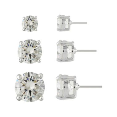 jcpenney.com | Monet® 3-pr. Cubic Zirconia and Silver-Tone Earring Set