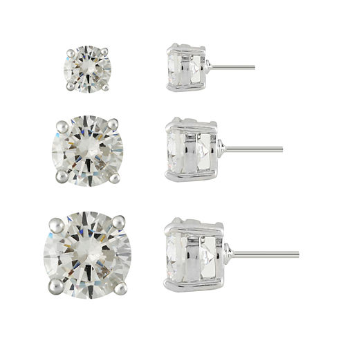 Monet® 3-pr. Cubic Zirconia and Silver-Tone Earring Set