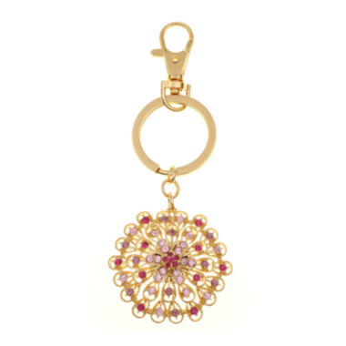 jcpenney.com | Monet® Gold-Tone & Pink Flower Key Fob