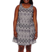 My Michelle® Sleeveless Bonded Lace Skater Dress - Juniors Plus