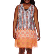 My Michelle® Sleeveless Lace-Up Print Chiffon Dress - Juniors Plus