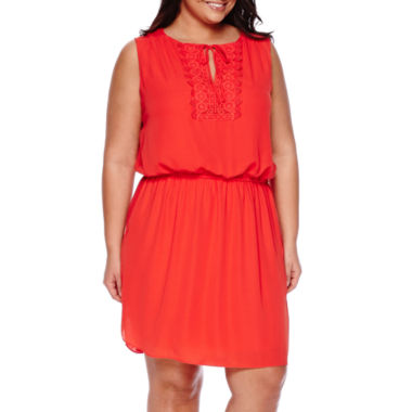 jcpenney.com | Bisou Bisou® Sleeveless Crochet Blouson Dress - Plus