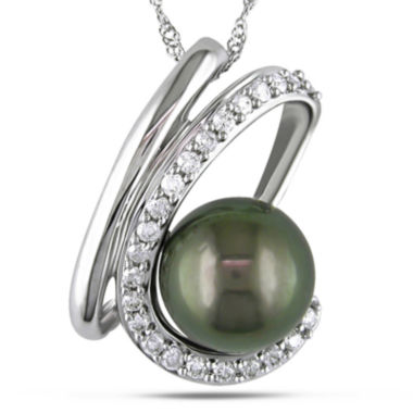 jcpenney.com | 1/4 CT. T.W. Diamond and Black Cultured Tahitian Pearl Pendant