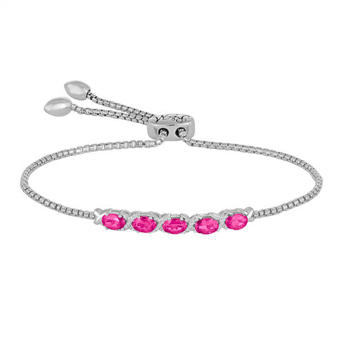 Rhythm and Muse Lab-Created Pink & White Sapphire Sterling Silver Bracelet