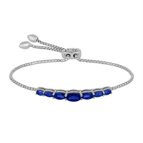 Rhythm and Muse Lab-Created Blue Sapphire Sterling Silver Bolo Bracelet