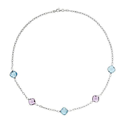 Genuine Amethyst & Blue Topaz Sterling Silver Necklace