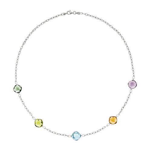 Genuine Multi Gemstone Sterling Silver Necklace