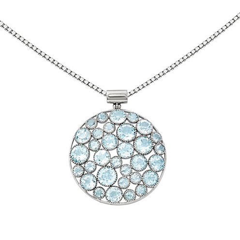 Genuine Blue Topaz Sterling Silver Pendant Necklace