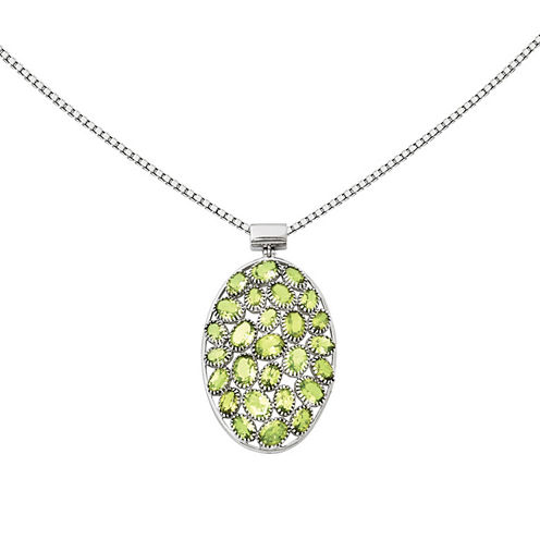 Genuine Peridot Sterling Silver Pendant Necklace
