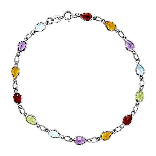 Genuine Multi-Colored Gemstone Sterling Silver Bracelet