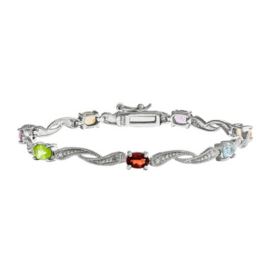 jcpenney.com | Genuine Multi Gemstone and Diamond Accent Sterling Silver Bracelet