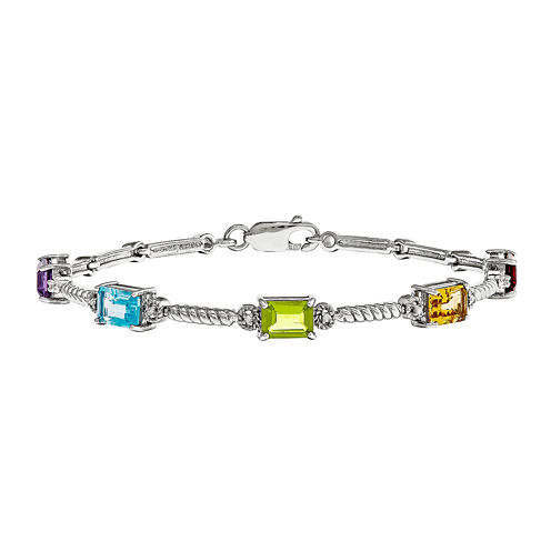 Multi Gemstone & Diamond Accent Sterling Silver Tennis Bracelet