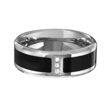 jcpenney.com | Mens Diamond Accent Black IP Stainless Steel Wedding Band