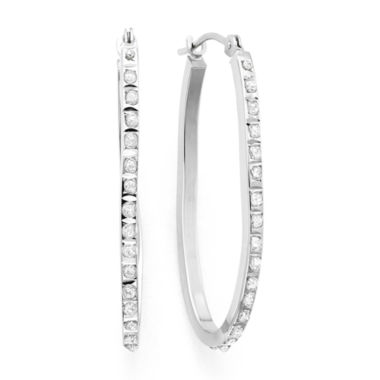 jcpenney.com | Diamond Fascination™ 14K White Gold Diamond Accent Oval Hoop Earrings