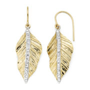 Diamond Fascination™ 14K Yellow Gold Leaf Drop Earrings
