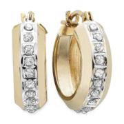 Diamond Fascination™ 14K Yellow Gold Round Hoop Earrings