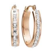 Diamond Fascination™ 14K Rose Gold Flat Oval Hoop Earrings