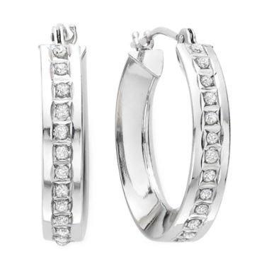 jcpenney.com | Diamond Fascination™ 14K White Gold Concave Hoop Earrings