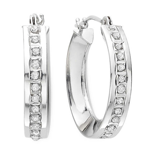 Diamond Fascination™ 14K White Gold Concave Hoop Earrings