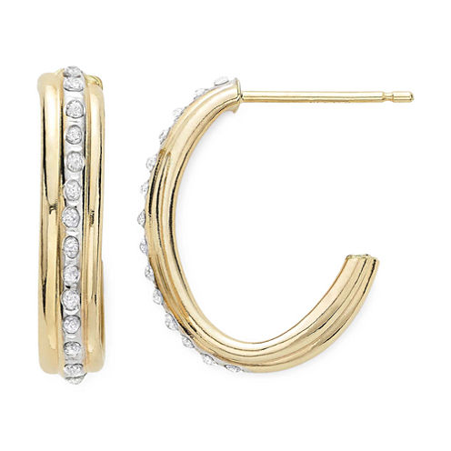 Diamond Fascination™ 14K Yellow Gold J-Hoop Earrings
