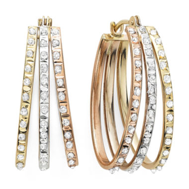 jcpenney.com | Diamond Fascination™ 14K Tri-Color Diamond Accent Triple Oval Hoop Earrings