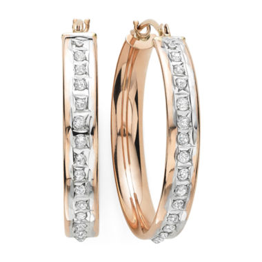 jcpenney.com | Diamond Fascination™ 14K Rose Gold Diamond Accent Flat Hoop Earrings