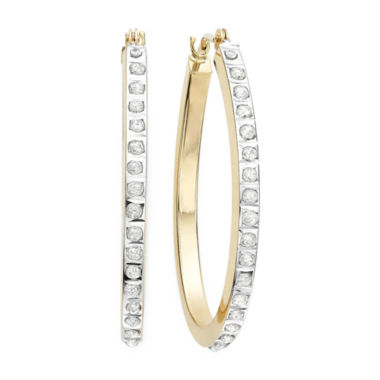 jcpenney.com | Diamond Fascination™ 14K Yellow Gold Diamond Accent Hoop Earrings