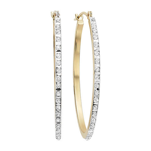Diamond Fascination™ 14K Yellow Gold Diamond Accent Oval Hoop Earrings
