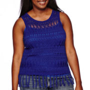 Arizona Pointelle Fringe Tank Top - Juniors Plus