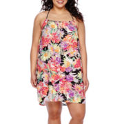 Arizona Sleeveless Tropical-Print Dress - Juniors Plus